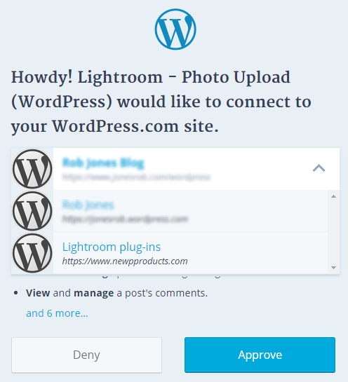 Photo Upload (WordPress) authentication with WordPress