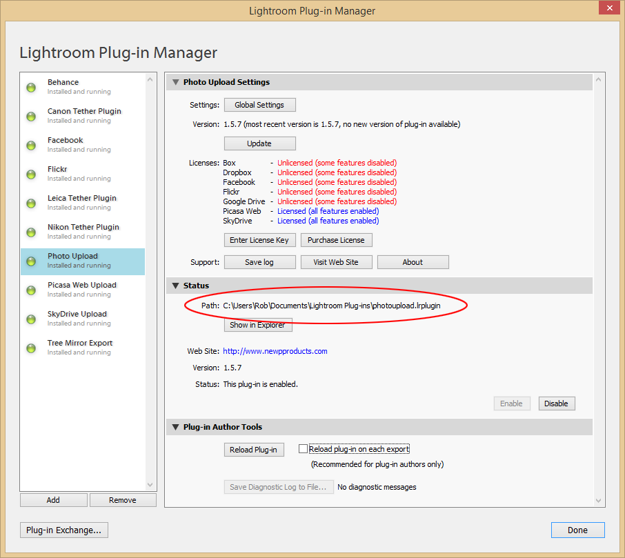 Support - Plug-in Manager - Install folder