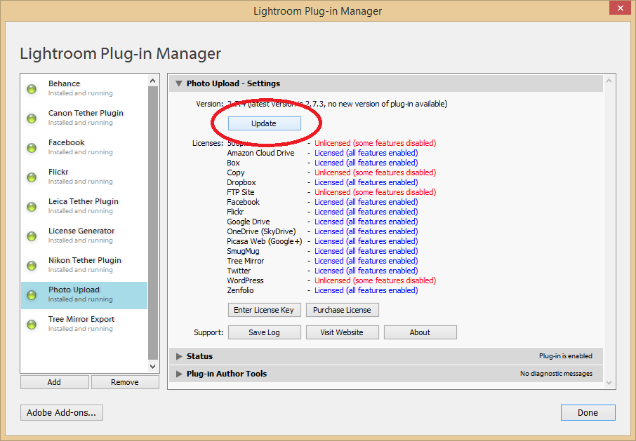 Support - Plug-in Manager - Update