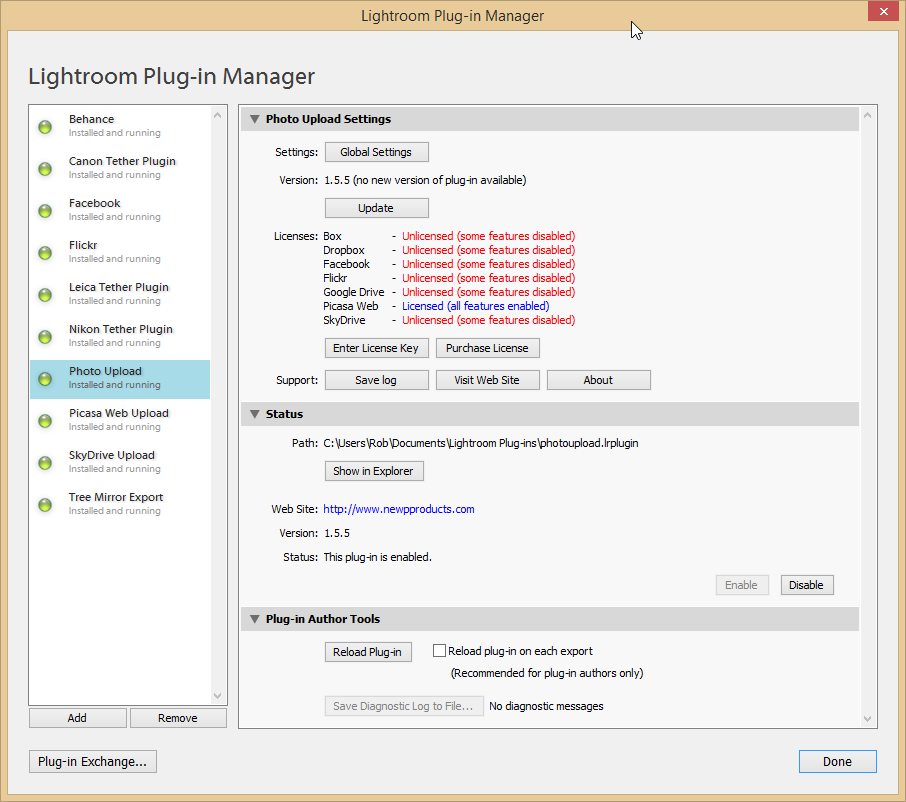 Support - Plug-in Manager