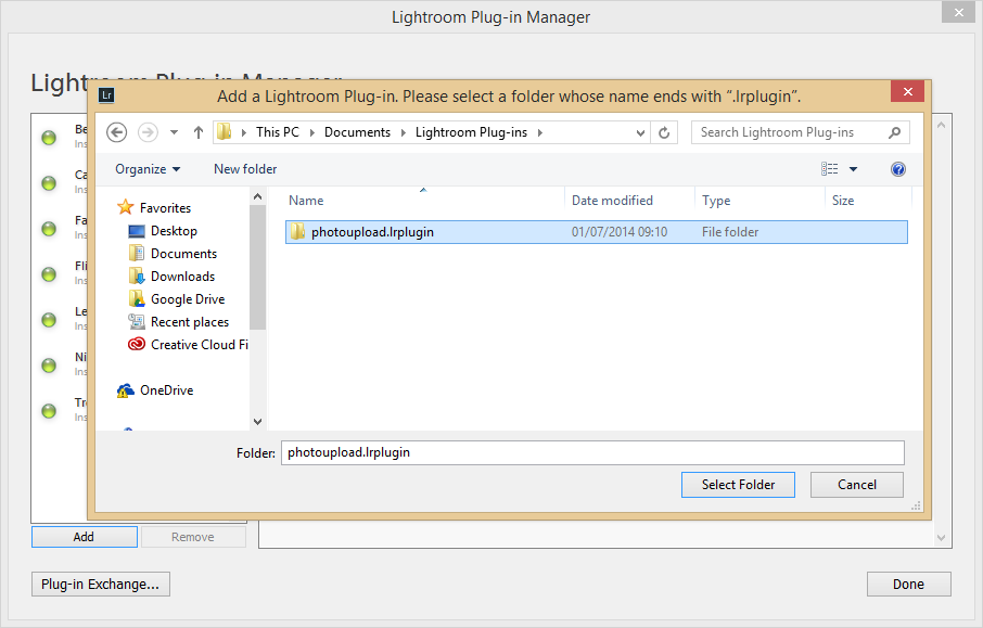 Installation - Add Lightroom Plug-in