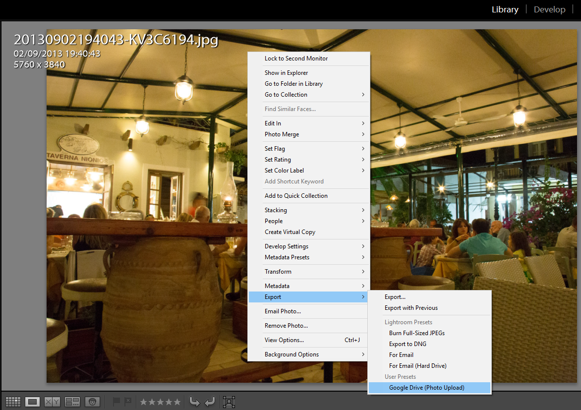 Export user presets - library export right click menu