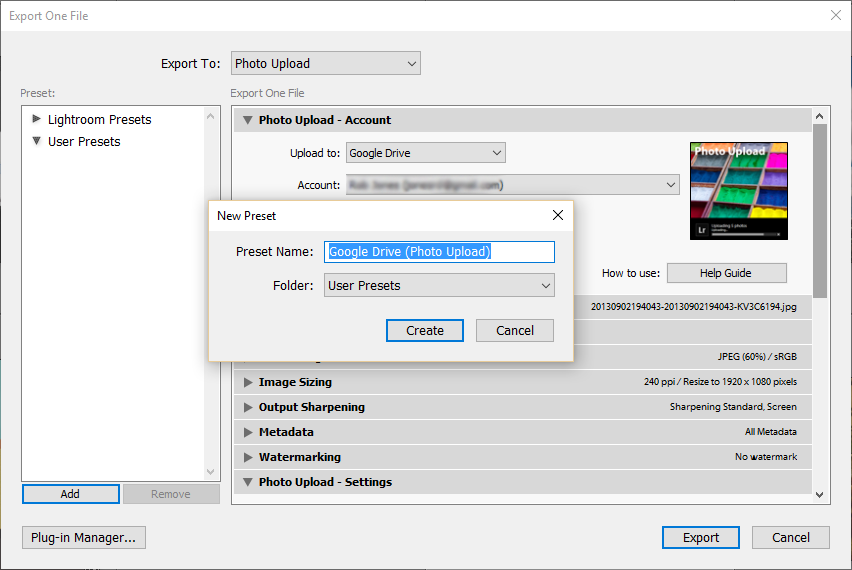 Export user presets - window add window