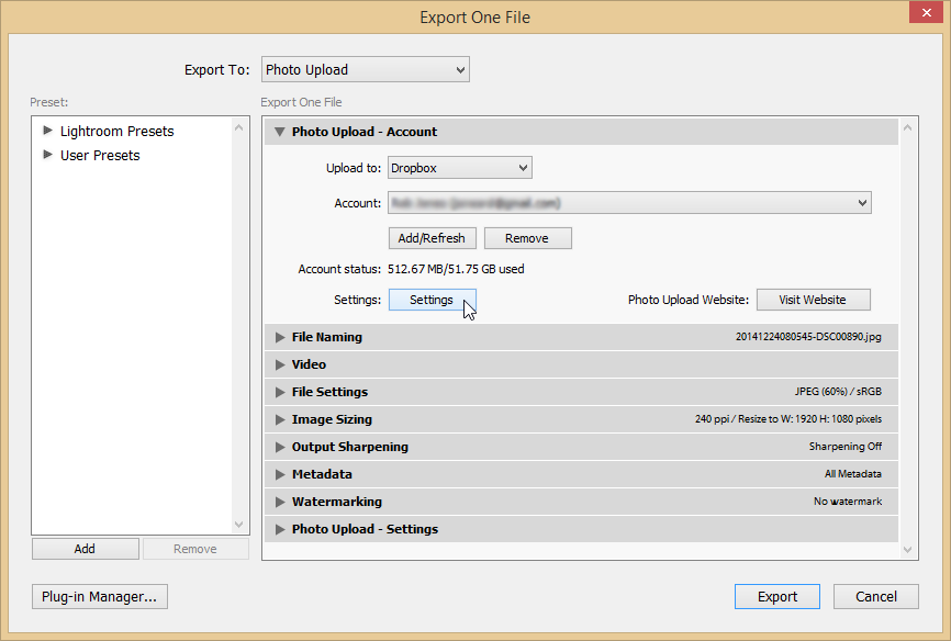 Export with folder hierarchy - Settings button