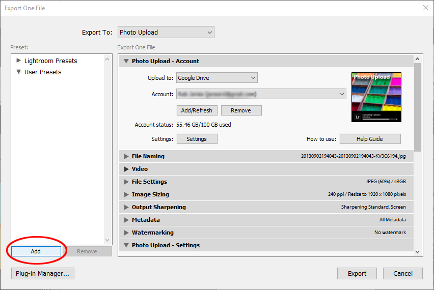 Export user presets - window add button