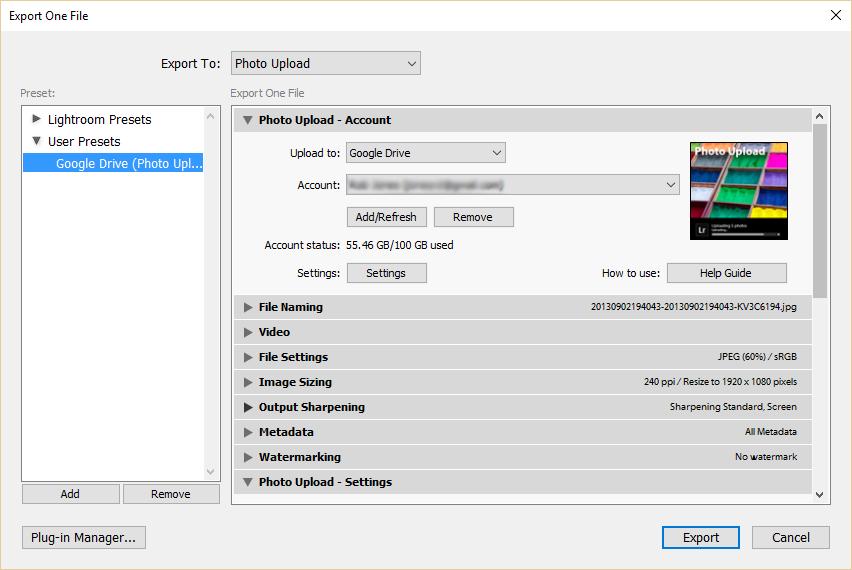 Export user presets - window export user preset