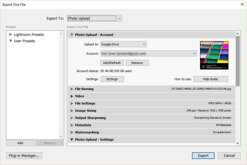 Export user presets - window